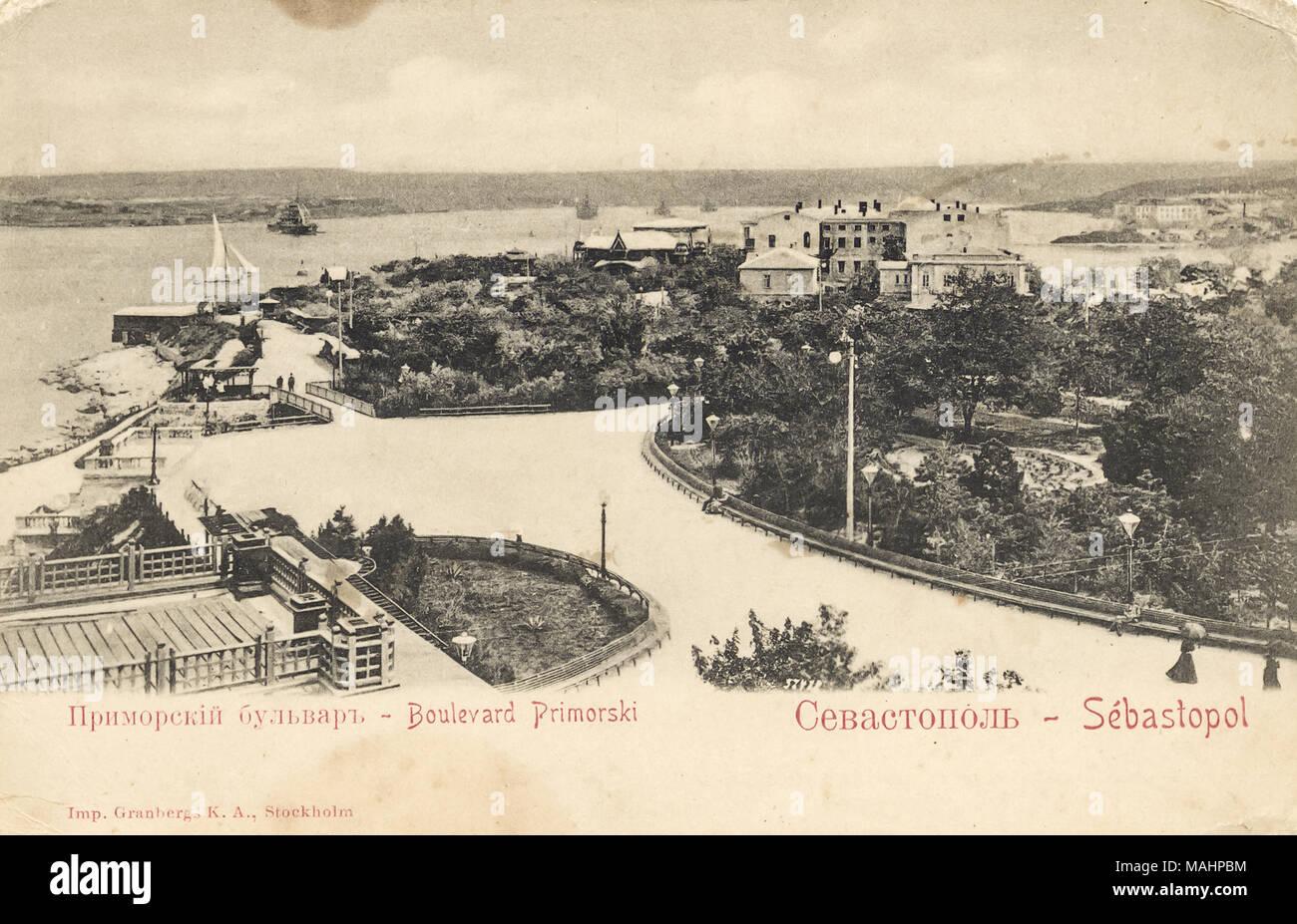 Vintage poster carte émise au début du 20ème siècle avec l'image de Primorsky boulevard Sébastopol en Crimée, Russie Photo Stock