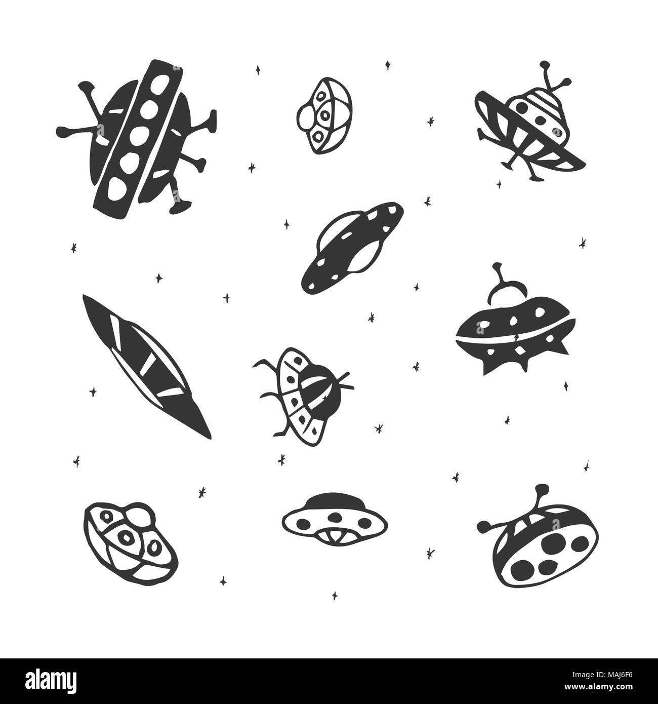 Dessin Soucoupe Volante vector set de dessin à la main ufo soucoupe volante vecteurs et