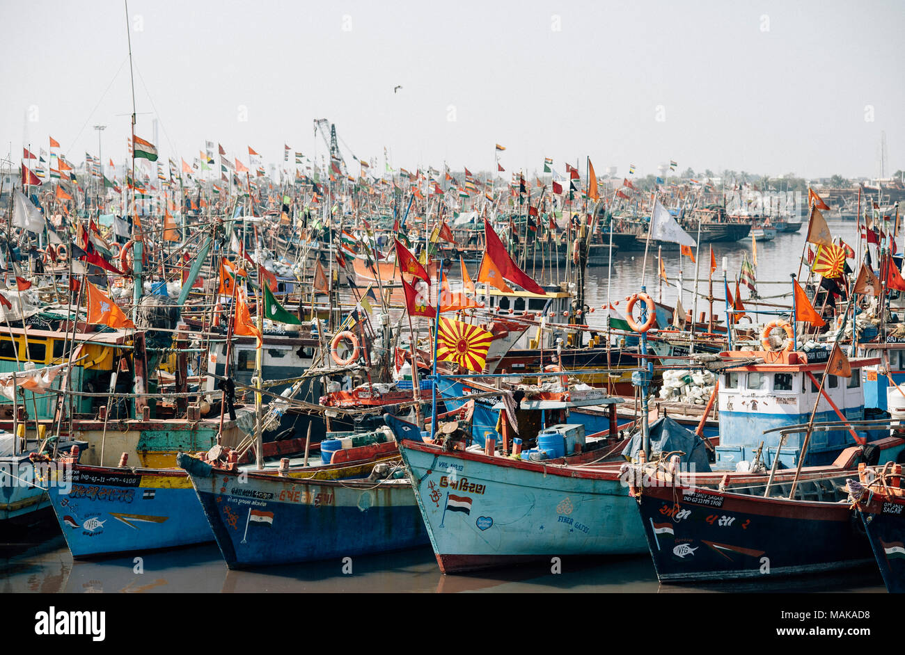 Port avec Fisherboats en Inde Photo Stock