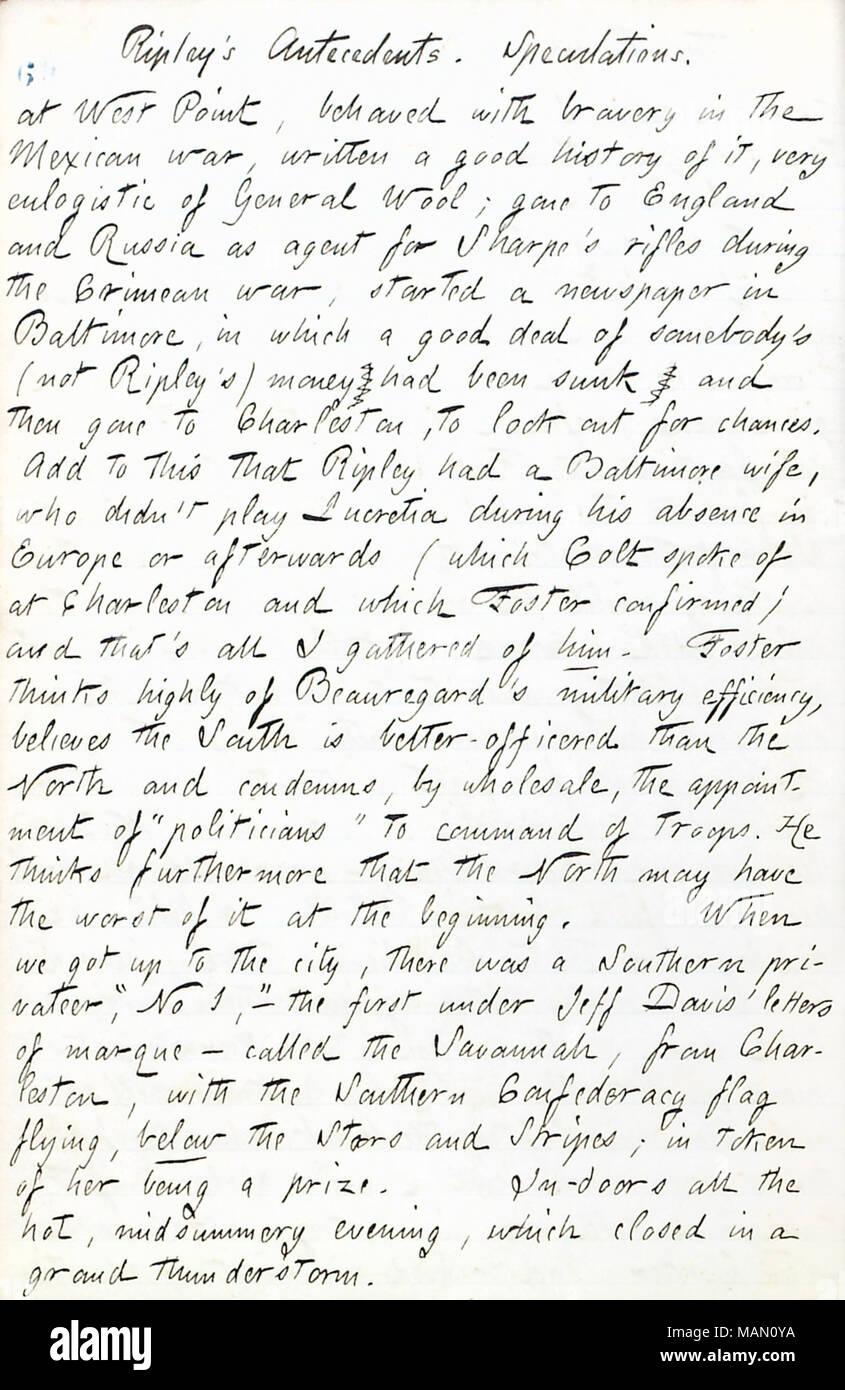 Décrit une conversation avec le capitaine J.G. Foster à propos de L.R. Ripley. Titre: Thomas Butler Gunn Diaries: Volume 17, page 10, Juin 15, 1861 . 15 juin 1861. Gunn, Thomas Butler, 1826-1903 Photo Stock