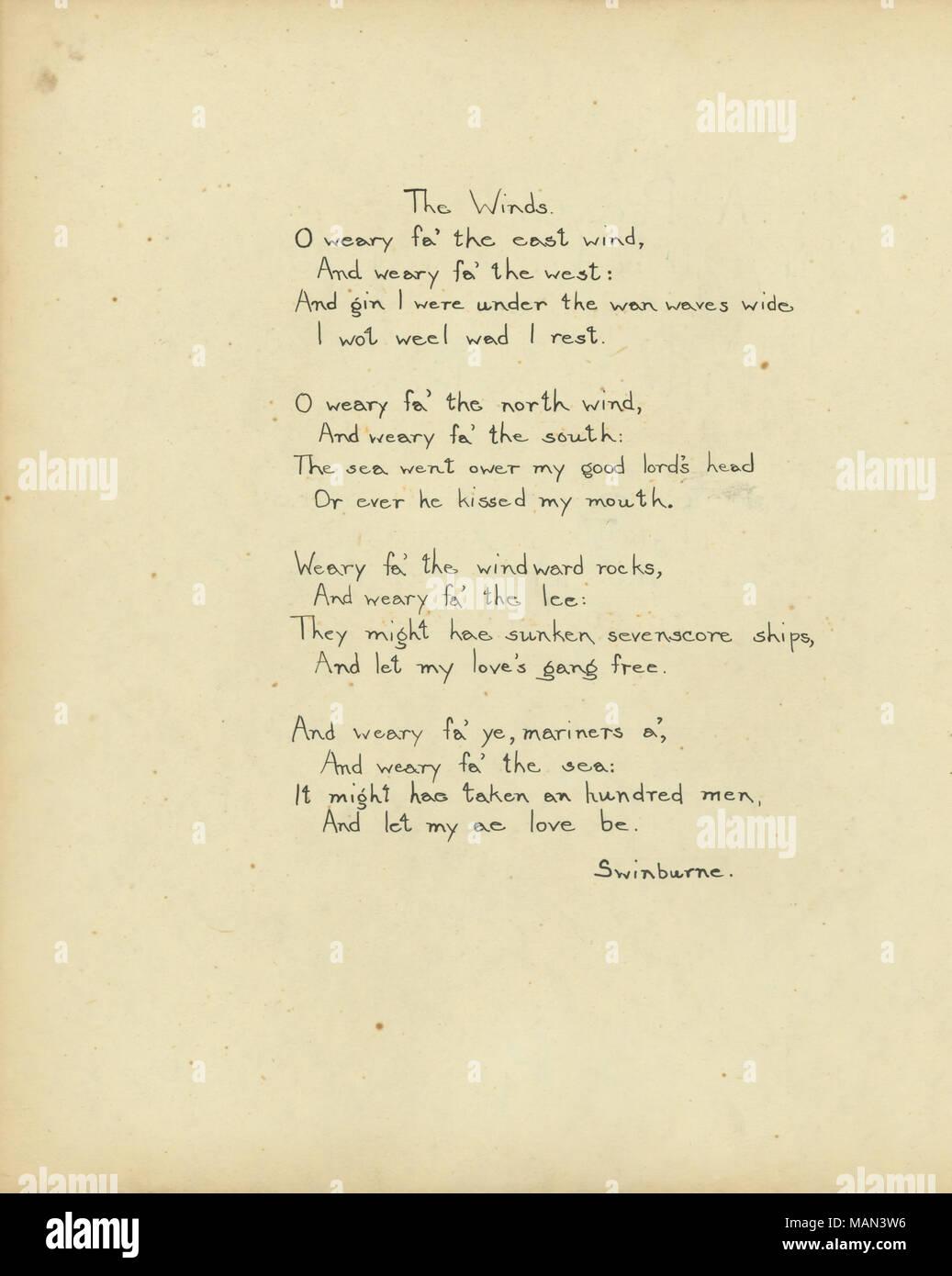 Le Vent Poème Par Algernon Charles Swinburne Titrele