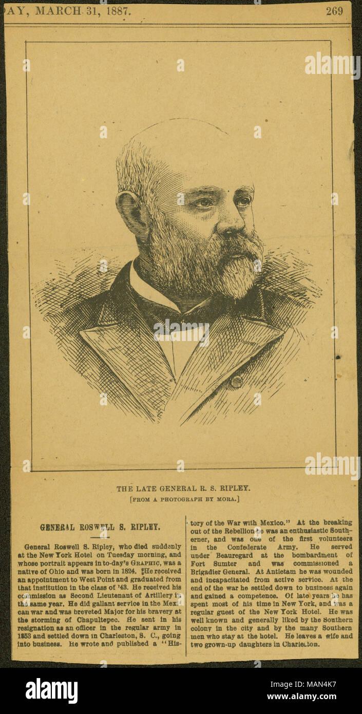 Avis de la gravure et de la R.S. Ripley. Titre: Thomas Butler Gunn Diaries: Volume 15, page 218 [coupure de presse] . Mars 1887. Gunn, Thomas Butler, 1826-1903 Photo Stock