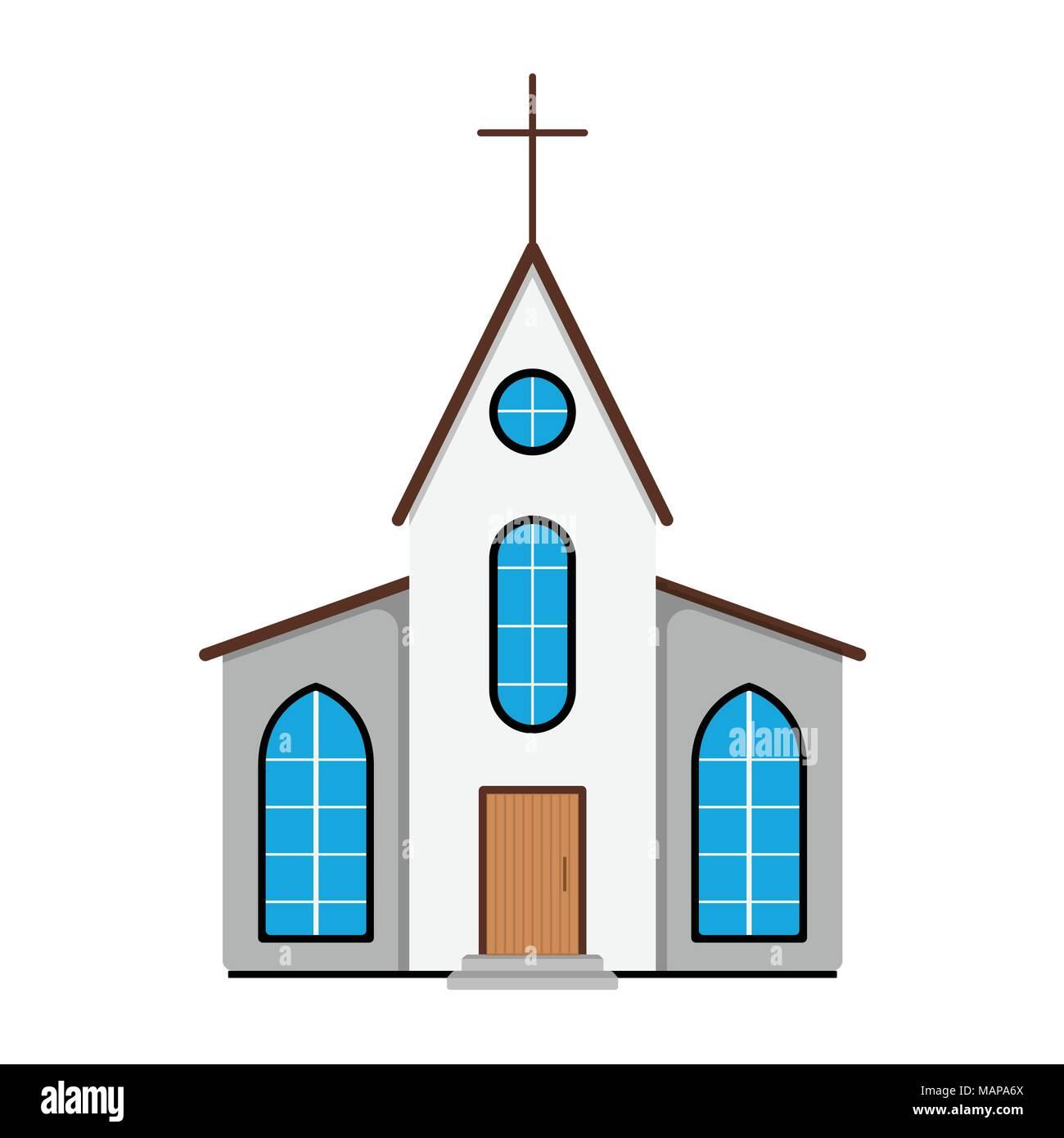 L Icone De L Eglise Etiquette De Paques Sur Fond Blanc Style De Dessin Anime Vector Illustration Image Vectorielle Stock Alamy