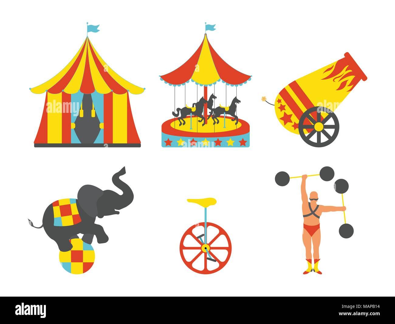 Ensemble de l'icône du cirque. Vintage clip art set. Vector illustration. Illustration de Vecteur