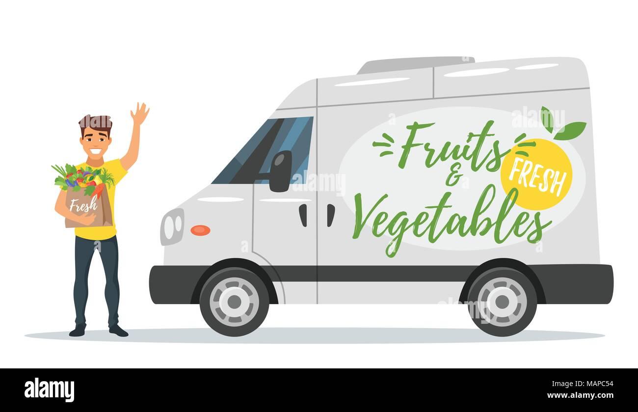 vector cartoon style agriculteurs fruits et l gumes avec la voiture de livraison livreur. Black Bedroom Furniture Sets. Home Design Ideas