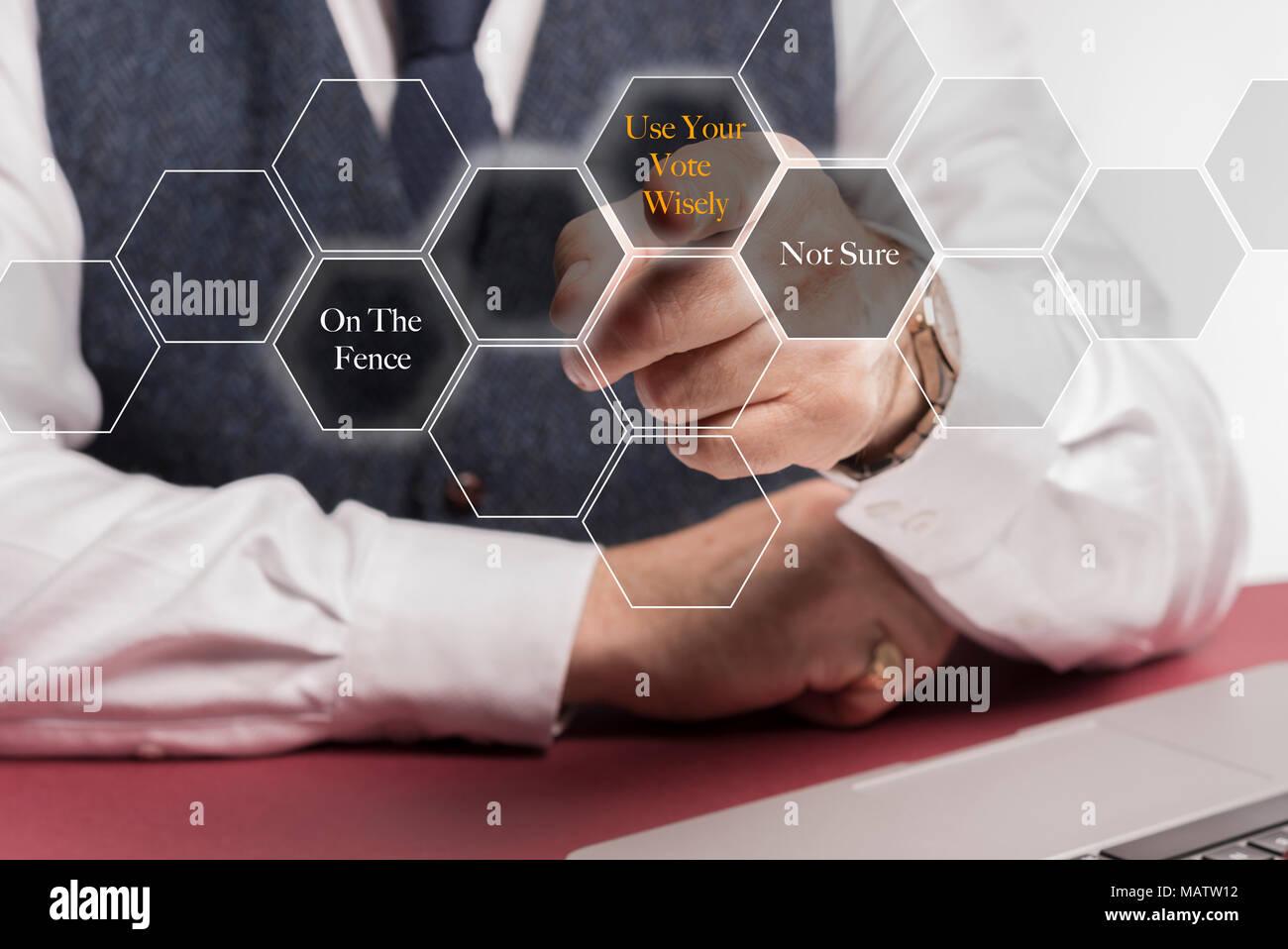 Business man sitting at desk poussant les boutons virtuels sur un écran disant utiliser sagement votre vote sur la barrière et pas sûr Photo Stock