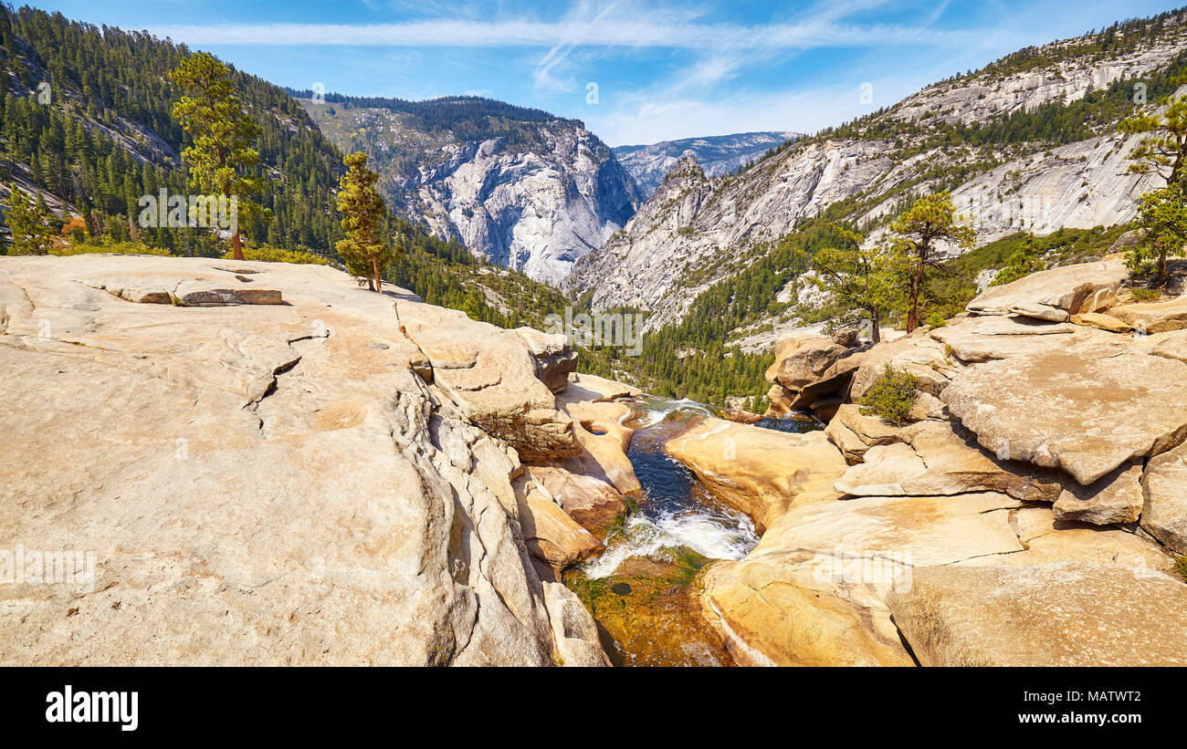 Vue panoramique sur le Yosemite National Park, California, USA. Photo Stock
