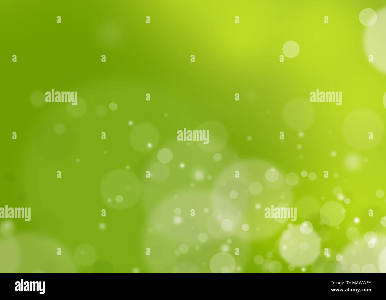 Résumé fond flou avec lens flare et lisse la lumière. Fond vert, toile de fond naturel, avec copie espace vectoriel. Photo Stock