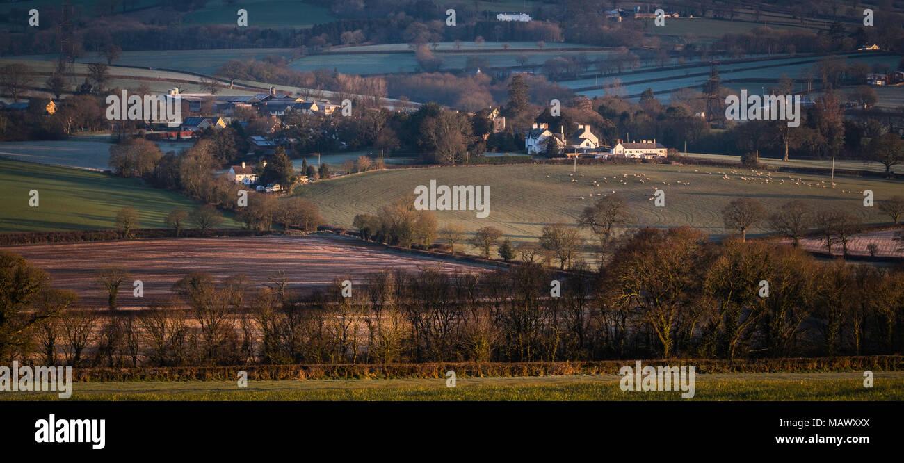 L'est du Devon Région d'une beauté naturelle près de Gittisham au premier feu. Banque D'Images