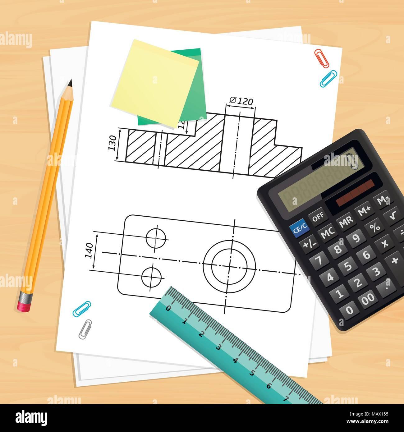 Travail ingénieur avec des outils et techniques Dessin Illustration de Vecteur