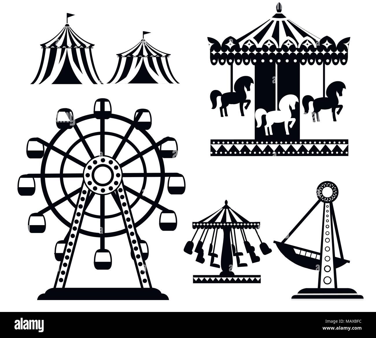 Silhouette noire. Ensemble de cirque carnaval d'icônes. Collection du parc d'attractions. Tente, carrousel, grande roue, bateau pirate. Cartoon style design. Mauvais vecteur Illustration de Vecteur