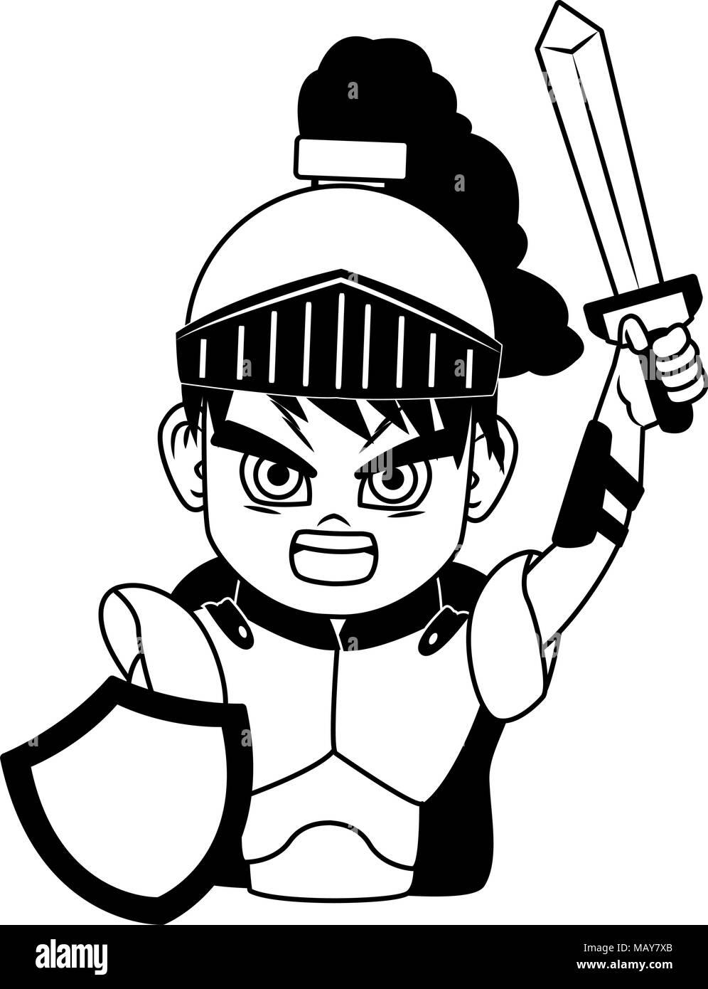 Jeu Video Dessin Anime Caractere Guerrier Medieval Vecteurs Et