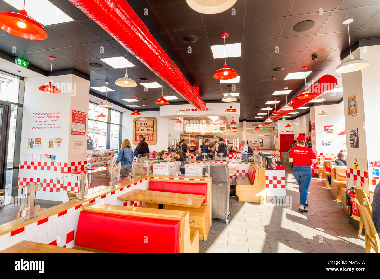 Le restaurant Five Guys, UK, Londres Photo Stock