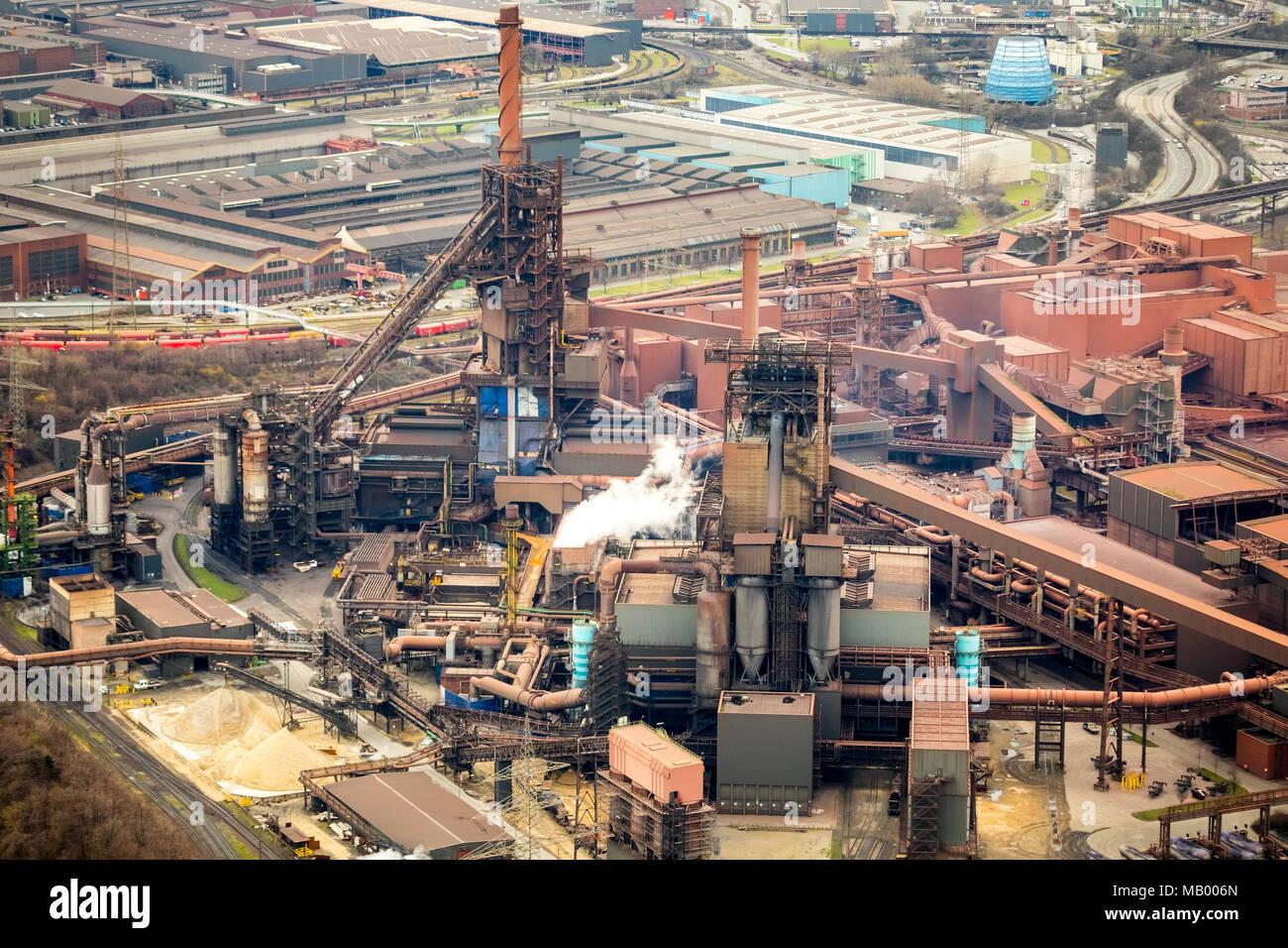 Krupp-Stahlwerk Schwelgern Thyssen, industrie de l'acier, Marxloh, Duisbourg, Rhénanie du Nord-Westphalie, Allemagne Photo Stock