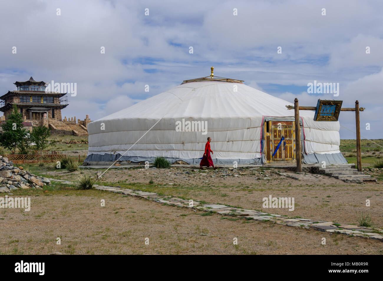 Complexe bouddhiste dans le désert de Gobi, Mongolie Photo Stock