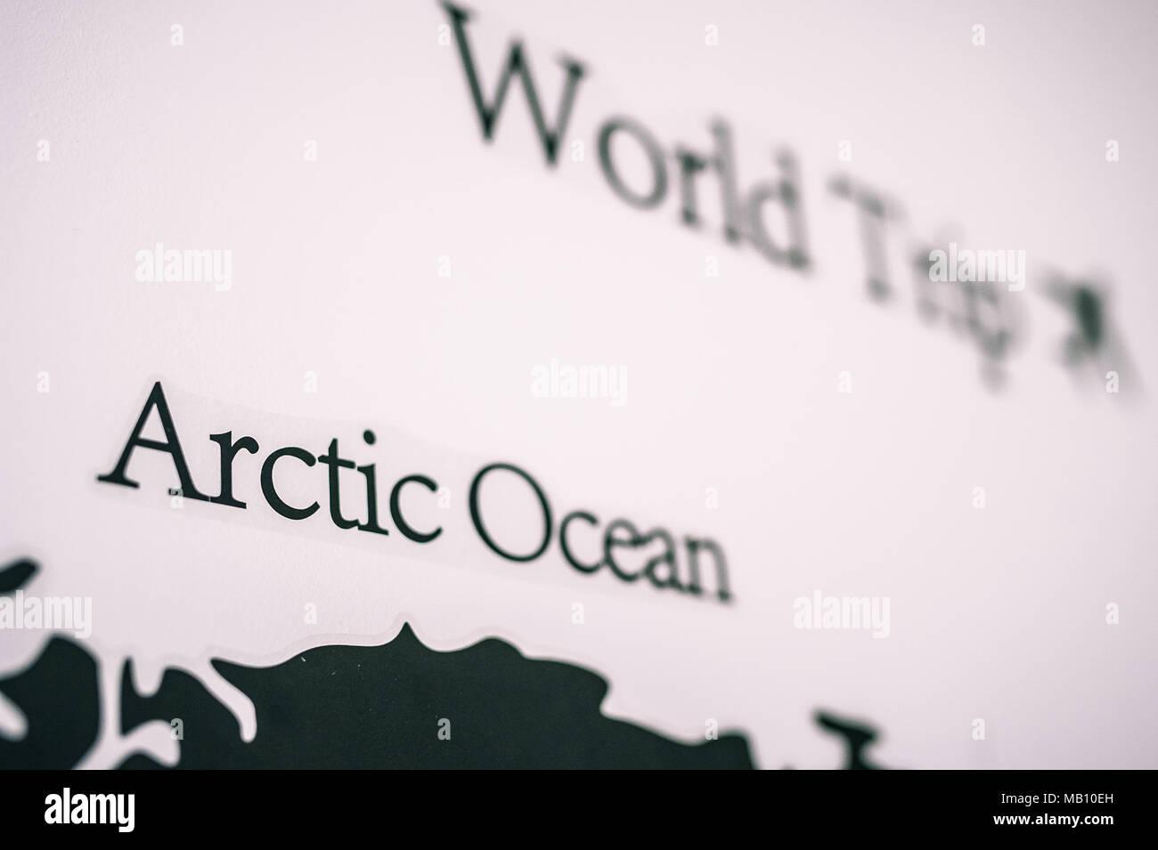 Carte du monde dans le mur Photo Stock