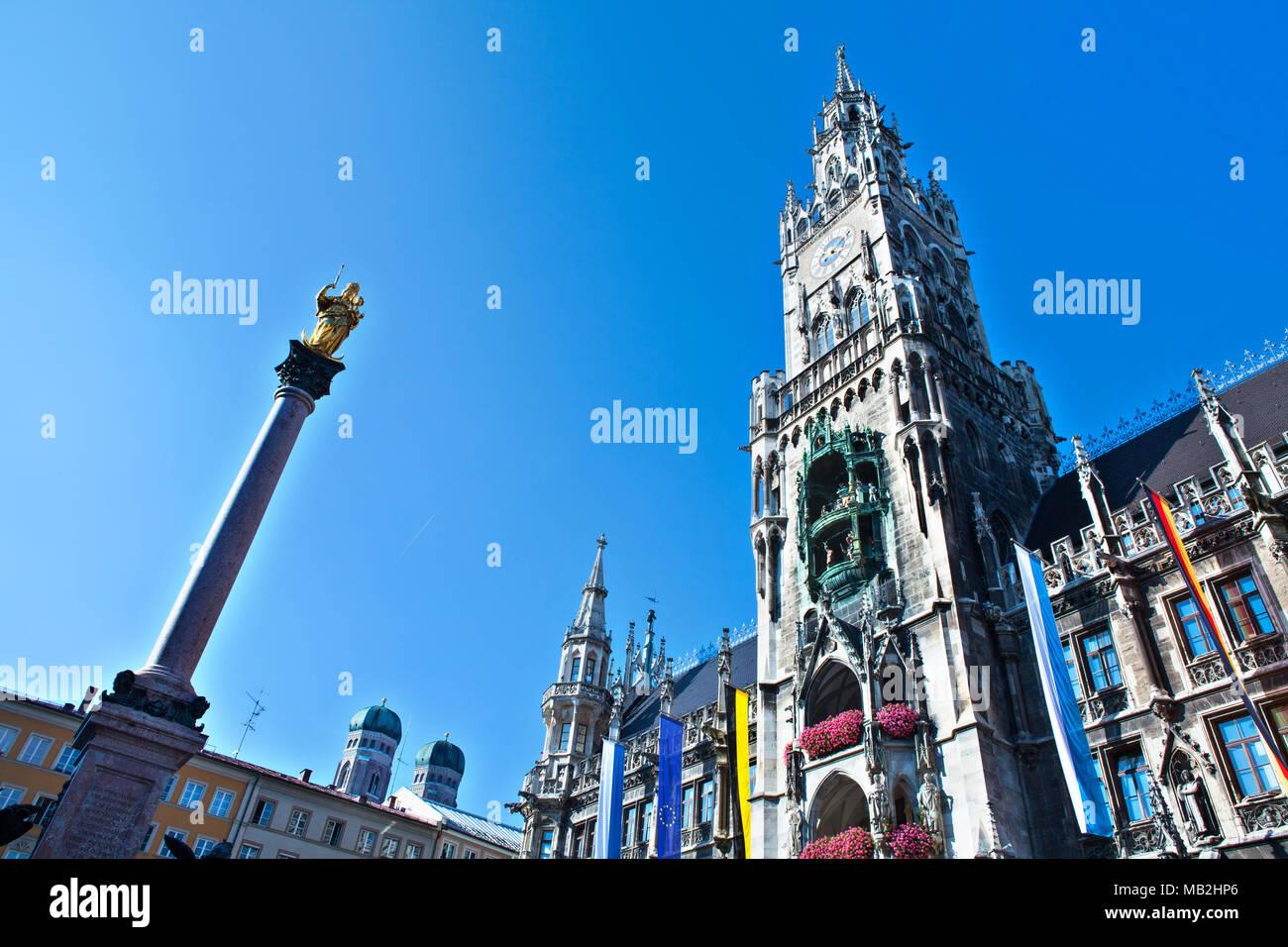 Hôtel de ville sur la place Marienplatz à Munich, Allemagne Photo Stock