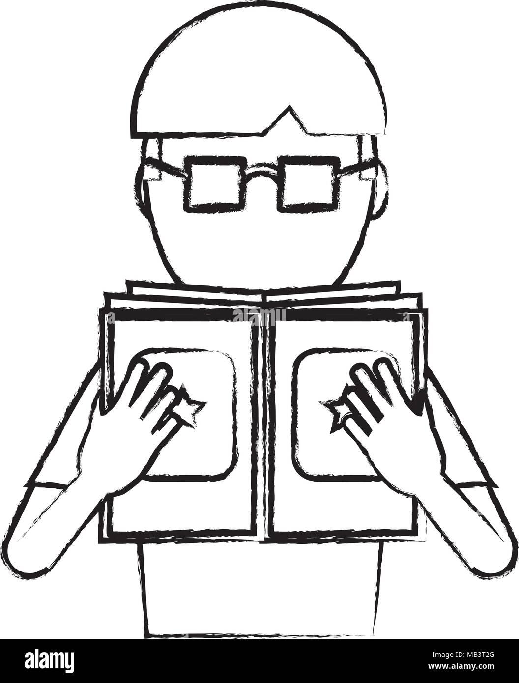 Croquis De L Homme Avatar Avec Des Lunettes Pour Lire Un