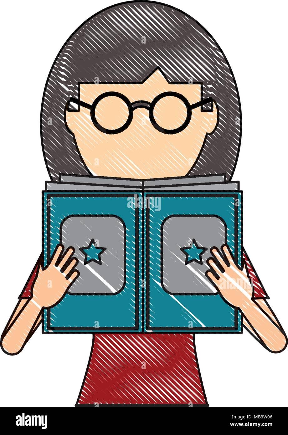 Avatar Femme Avec Des Lunettes Pour Lire Un Livre Sur Fond