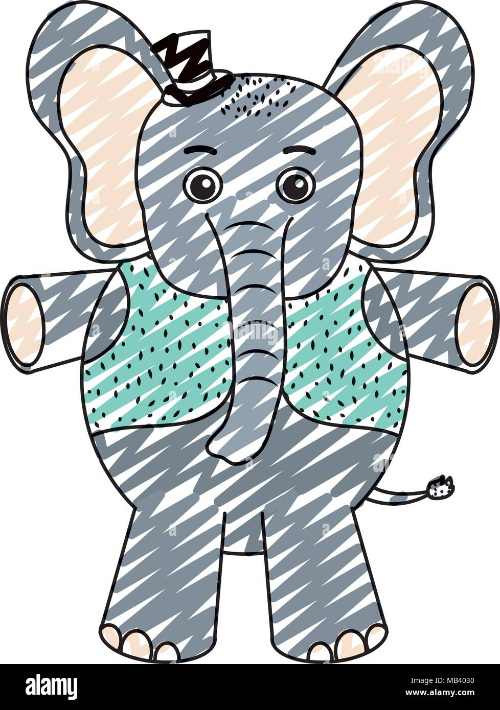 Doodle bébé éléphant animal avec gilet et hat Photo Stock 5f454f27eb9