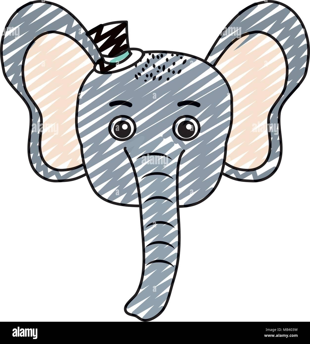 Doodle bébé éléphant animal tête avec chapeau Vecteurs Et ... 75aa2f7dcc5