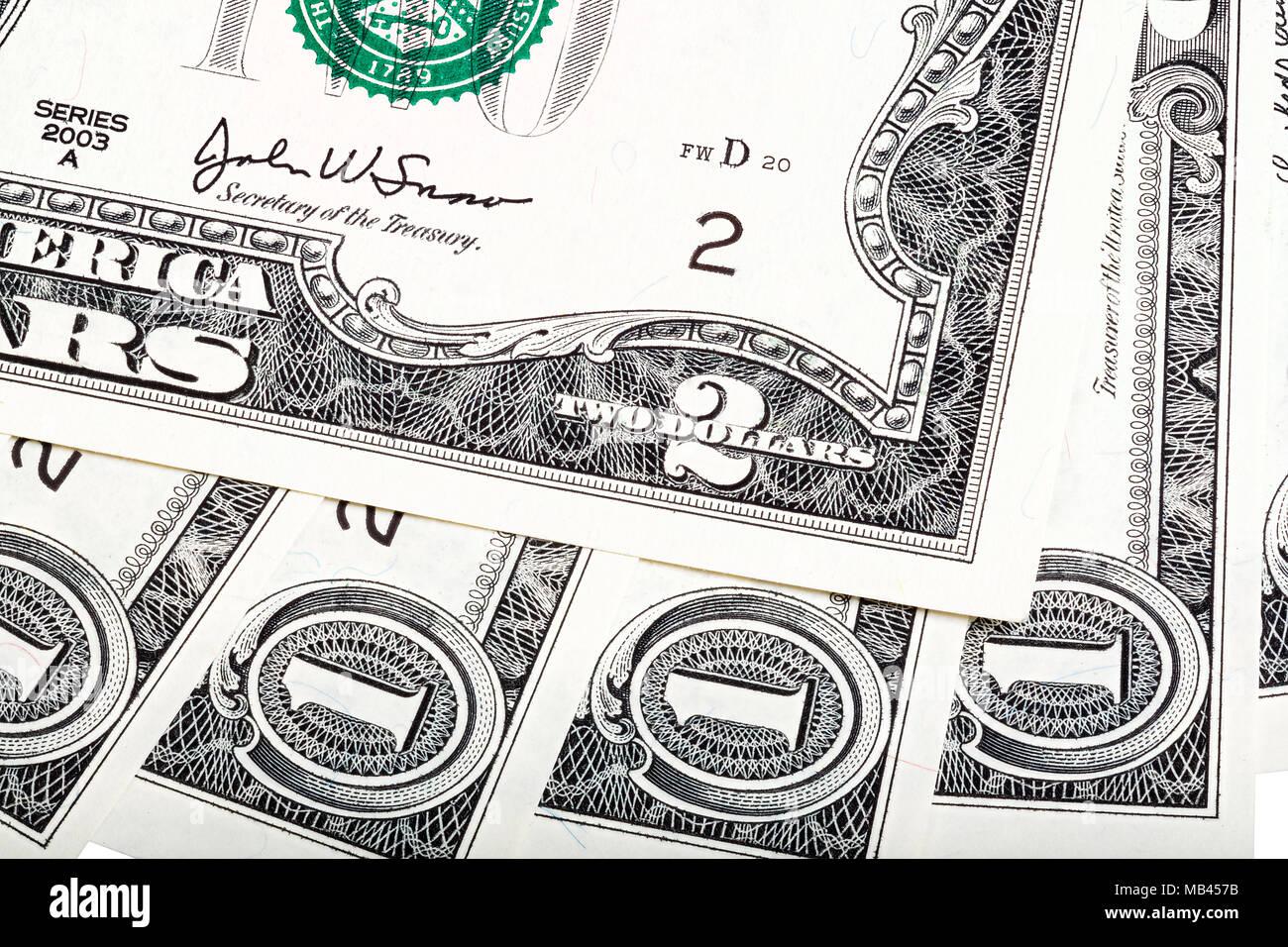 Composition abstraite intéressante de l'argent américain, une extrémité tw Photo Stock