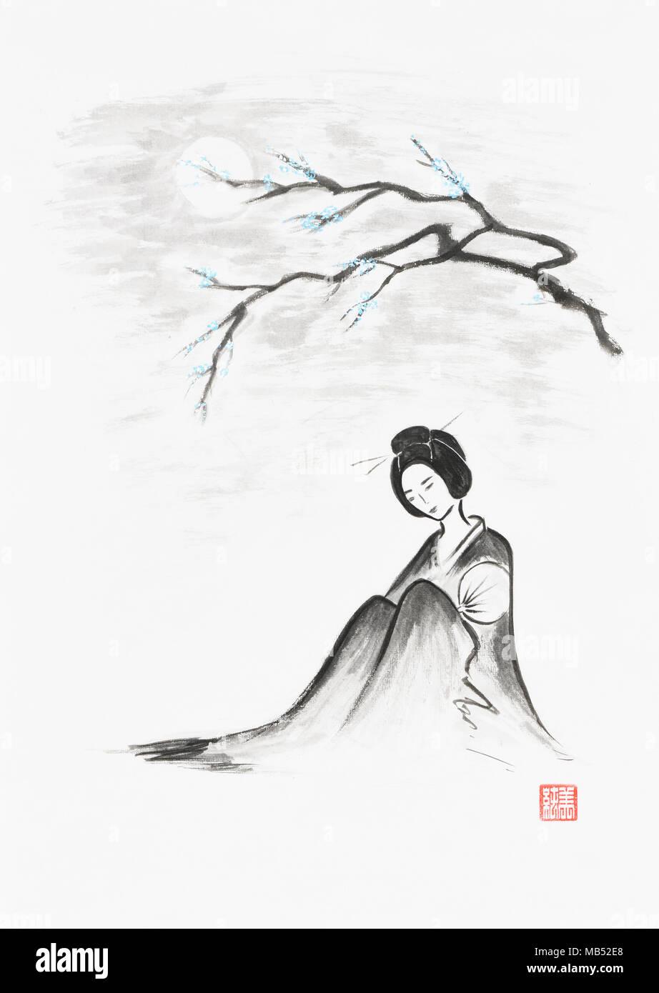 Belle geisha assise sous la direction artistique de sakura, illustration, Sumi-e Zen japonais peinture d'encre sur papier de riz Photo Stock