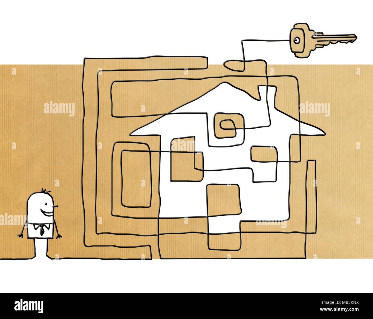 Lhomme dessin animé avec maison maze et clé