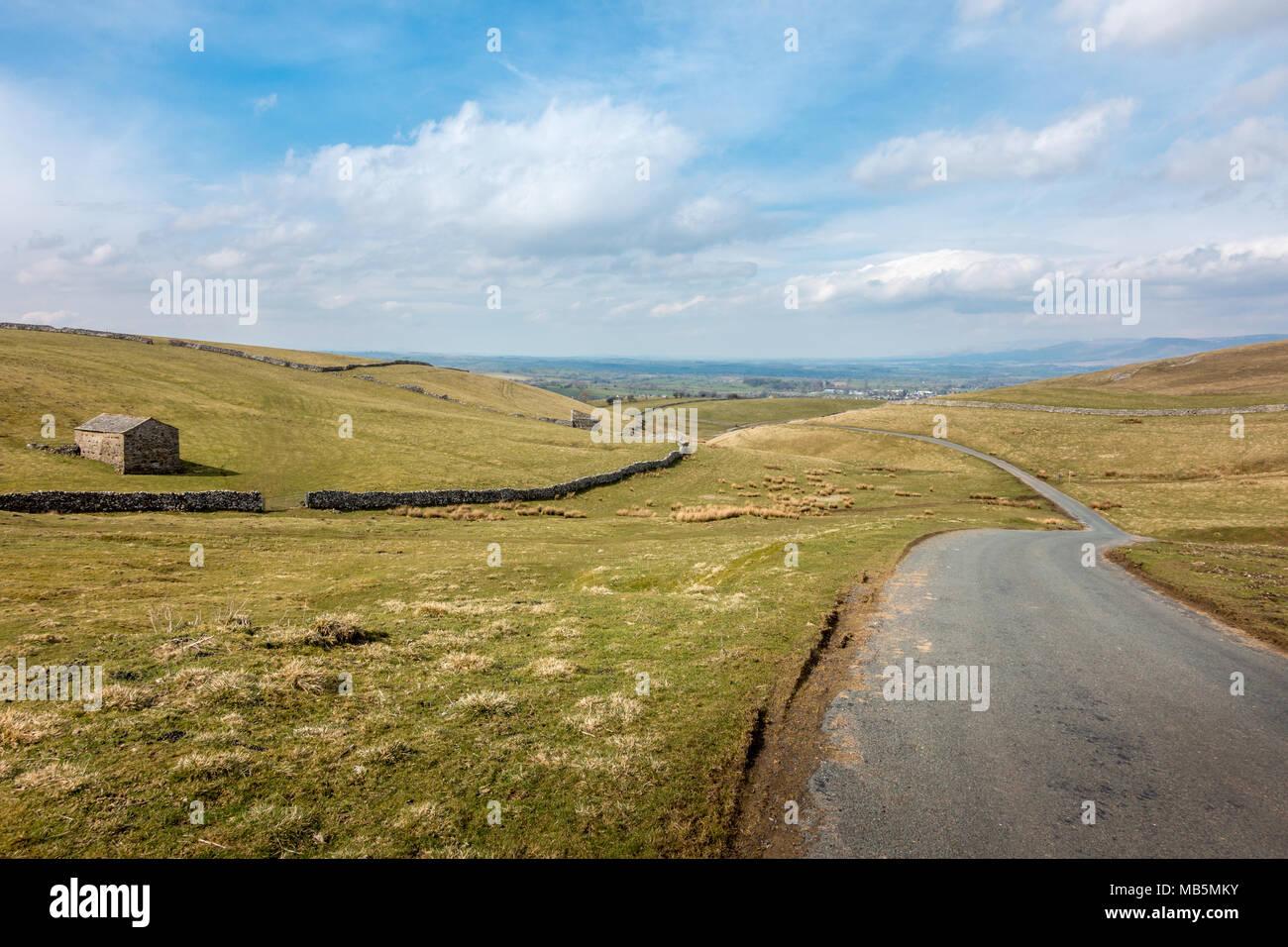 À la recherche d'un célèbre vélo hill, lampes Moss, sur la B6270 Road au-dessus de Nateby, Yorkshire Dales Banque D'Images