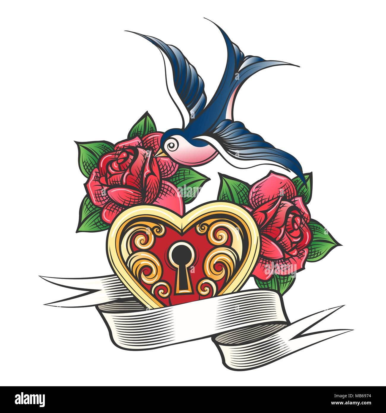 Bloquer En Forme De Cœur Avec Hirondelle Rose Des Fleurs Et Une