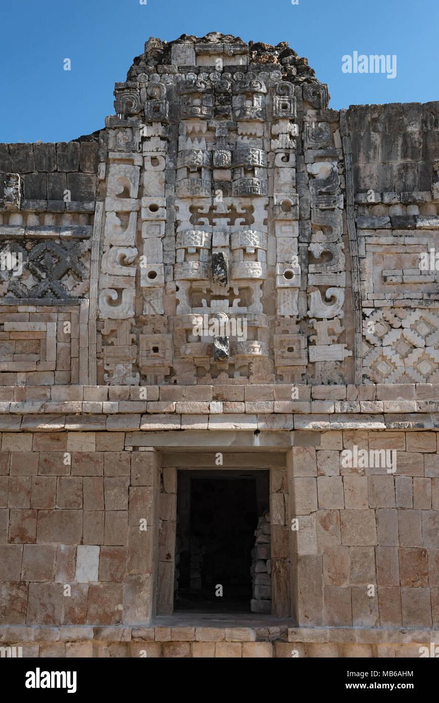 Détails de l'architecture de style Puuc maya dans les ruines d'Uxmal, Mexique Photo Stock
