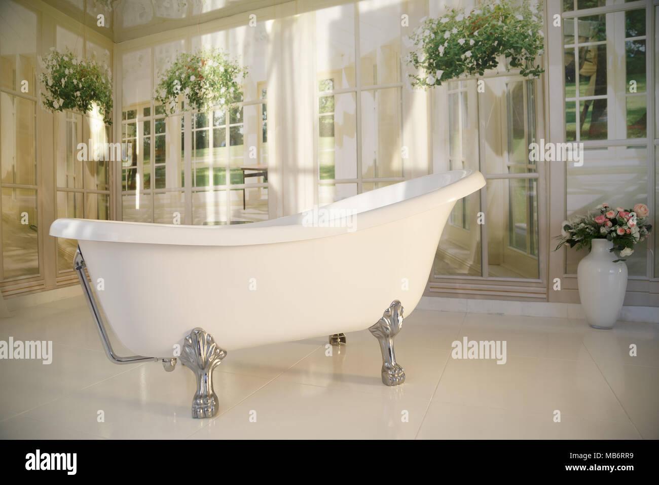 Intérieur salle de bains avec une baignoire îlot Banque D ...