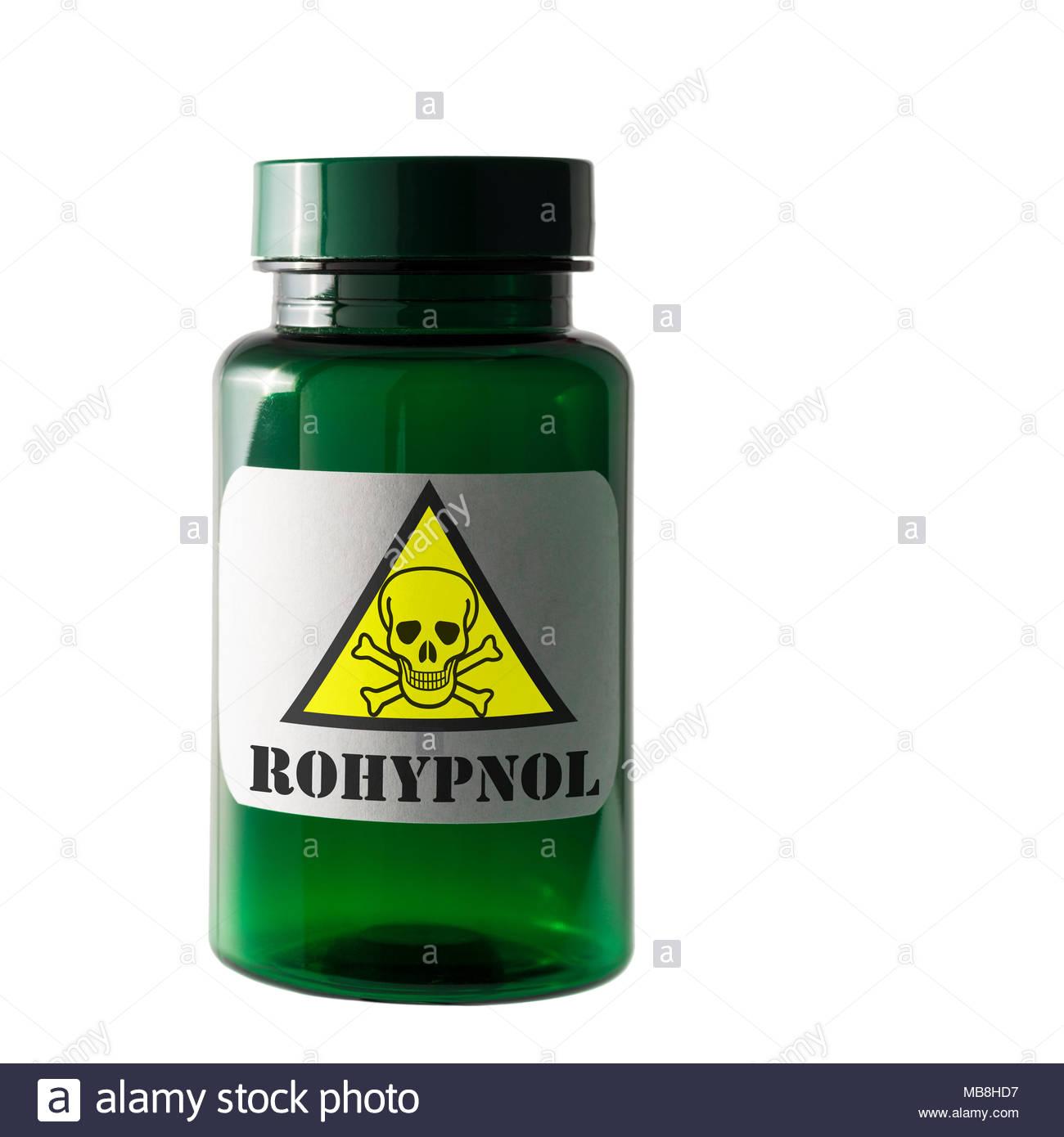 Le Rohypnol. Substance dangereuse étiquette, Dorset, England, UK Banque D'Images