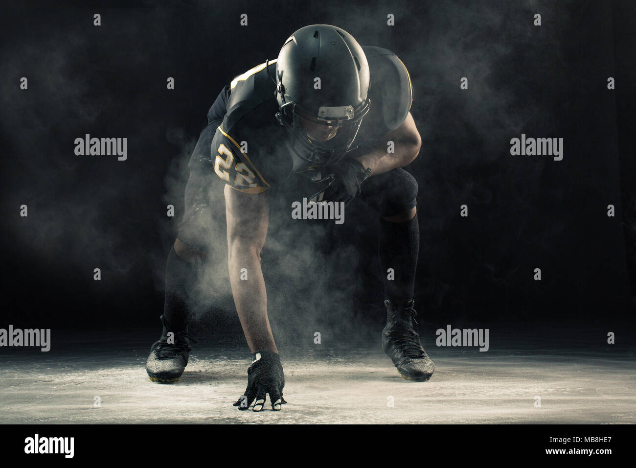 African American football player. Banque D'Images
