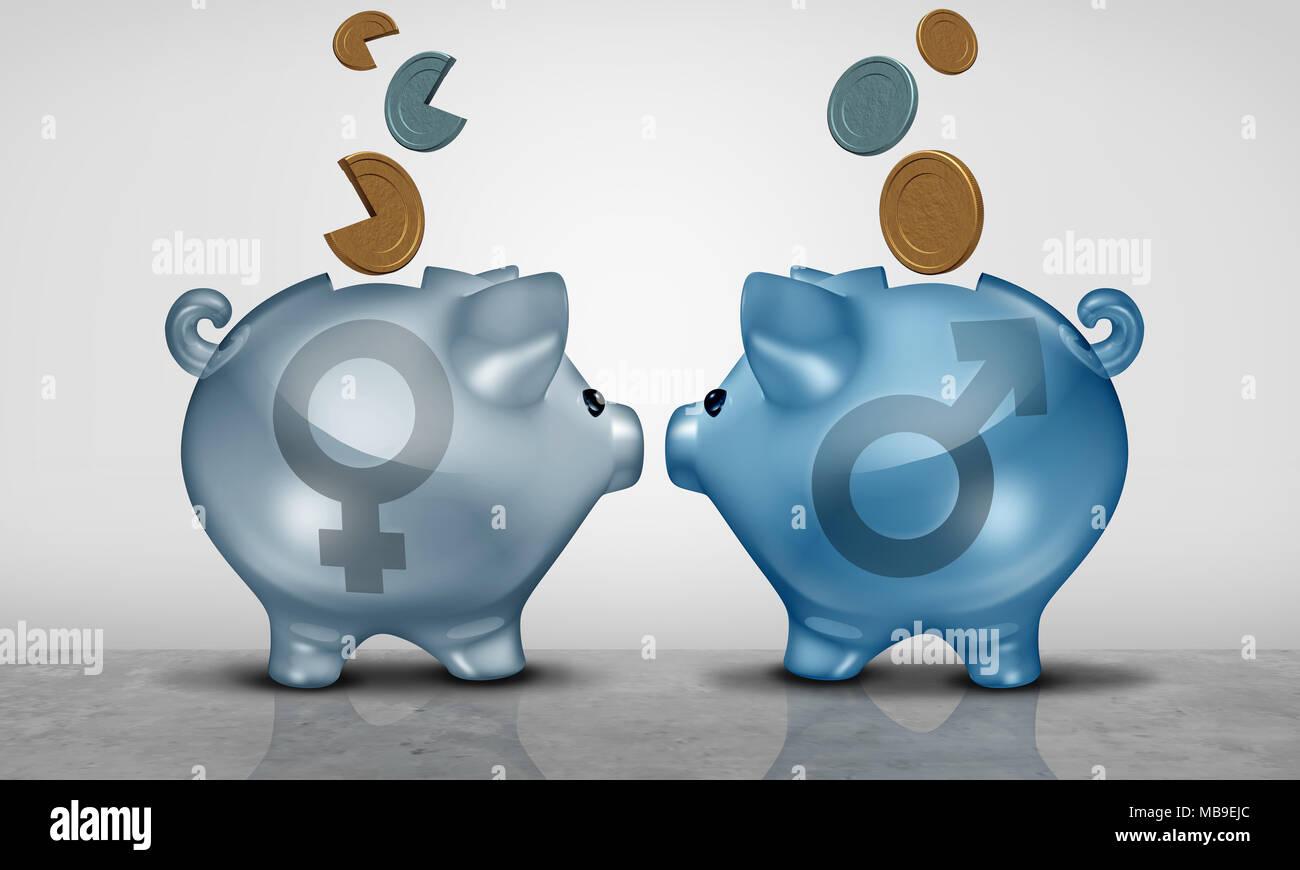 L'équité salariale et l'écart économique business concept comme deux objets tirelire avec symbole mâle et femelle de l'inégalité salariale montrant. Photo Stock