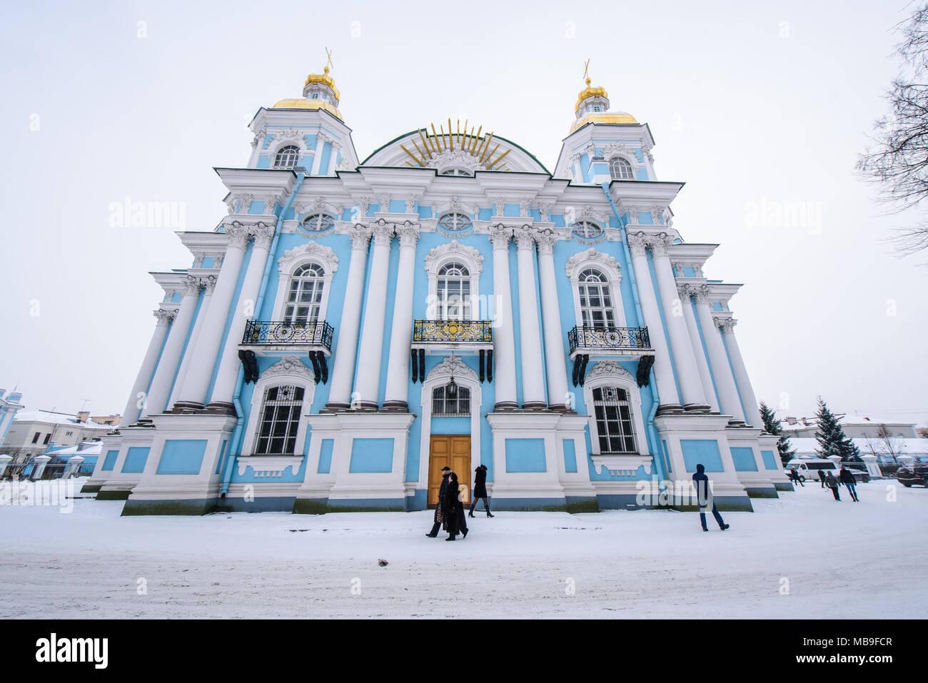 La Russie, Saint-Pétersbourg, la cathédrale St Nicolas Photo Stock