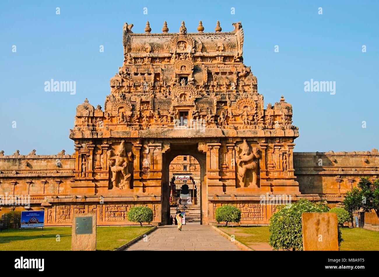 Pierres De Gopuram Et Porte Dentrée Du Temple De Brihadisvara