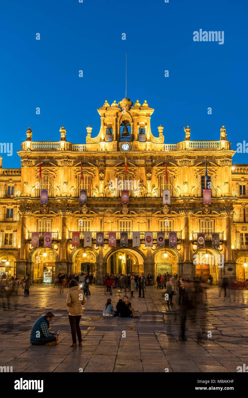 Plaza Mayor, Salamanque, Castille et Leon, Espagne Banque D'Images