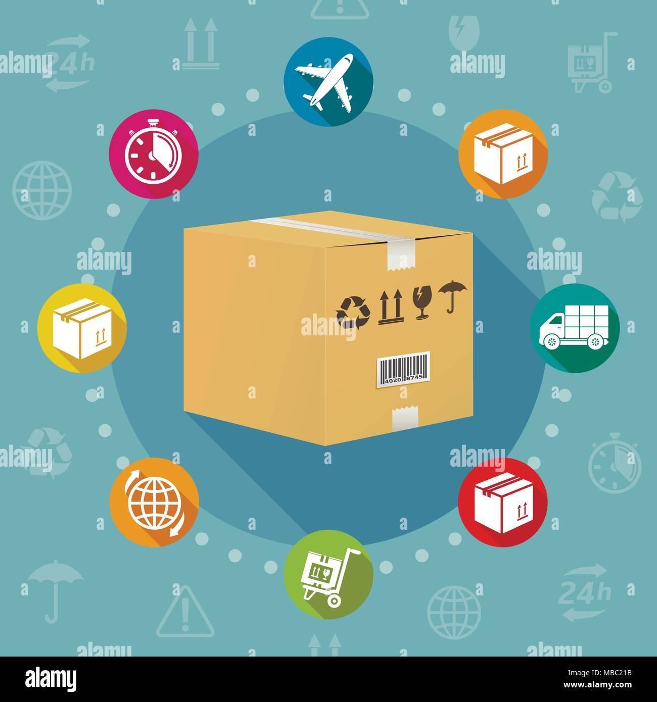 La logistique et l'expédition télévision style design concept vector Photo Stock