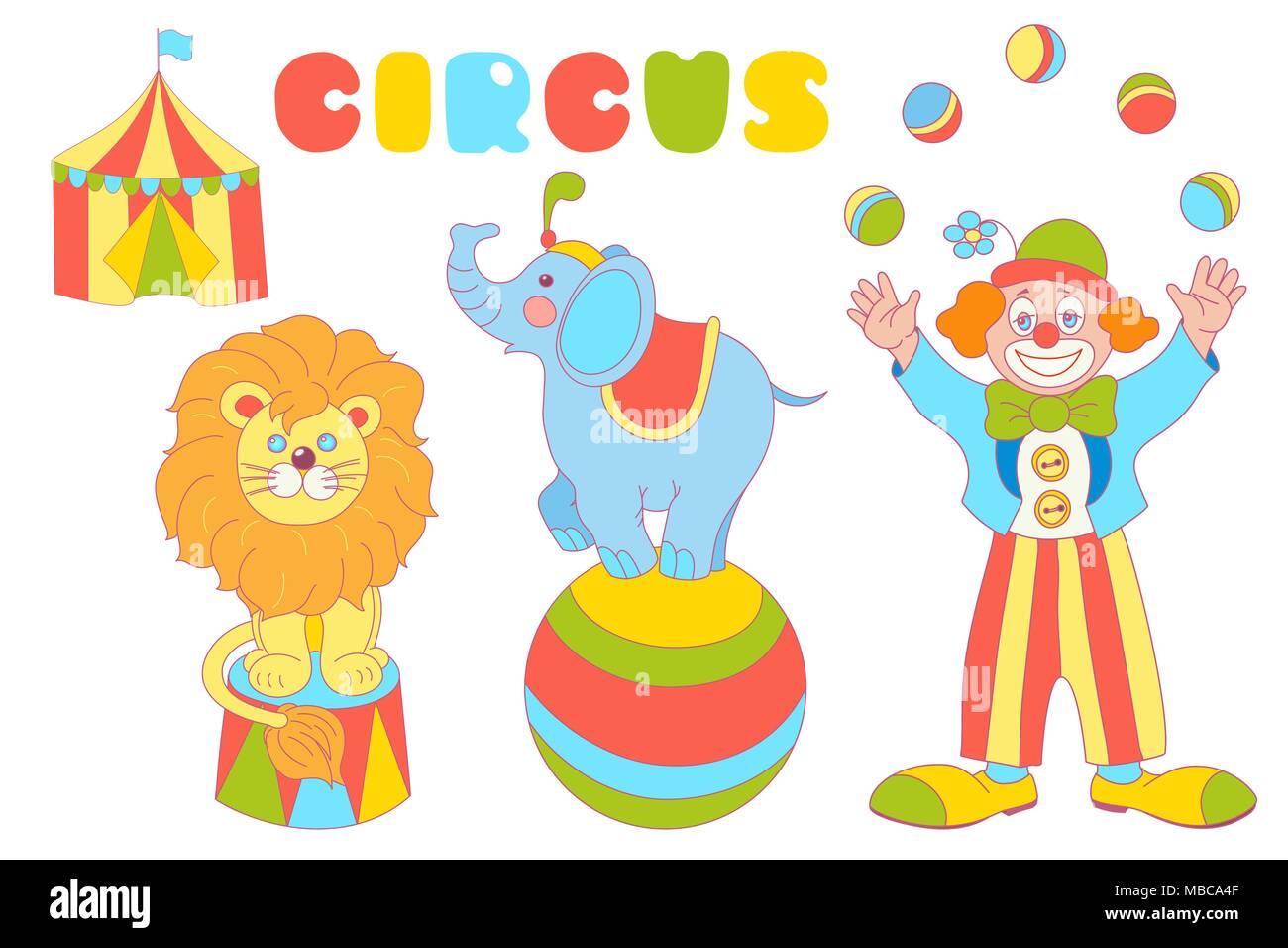 Personnages Du Cirque Vector Set Clown Jongleur L Elephant Sur