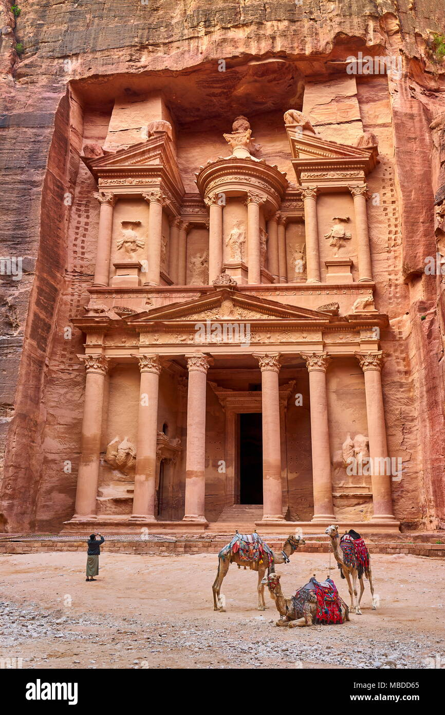 Le Conseil du Trésor (Al khazneh), Petra, Jordanie, l'UNESCO Photo Stock