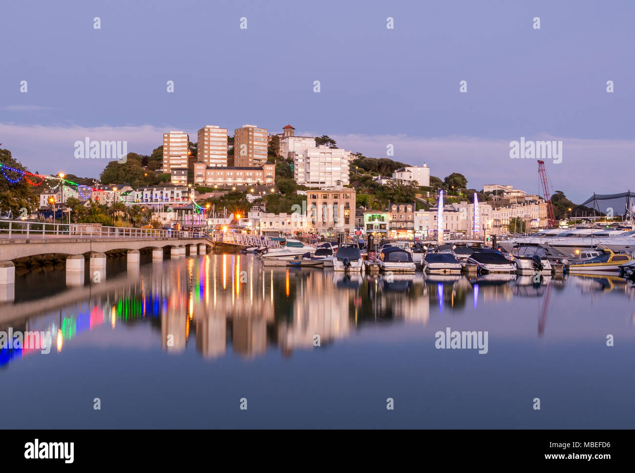 Le port de Torquay, au crépuscule Photo Stock