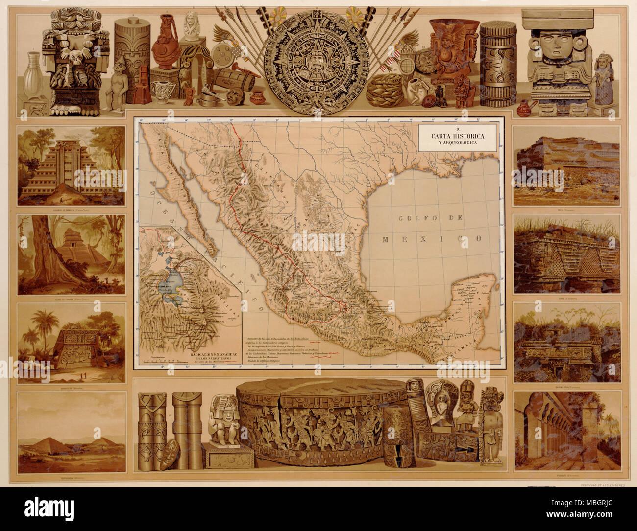 Objets historiques du Mexique indien du passé - 1885 Photo Stock