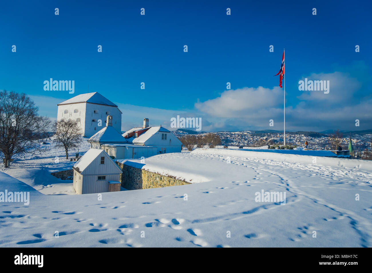 Vue extérieure de bâtiments couverts de neige pendant l hiver à la ville  norvégienne Trondheim dans l horizont 4186012a046