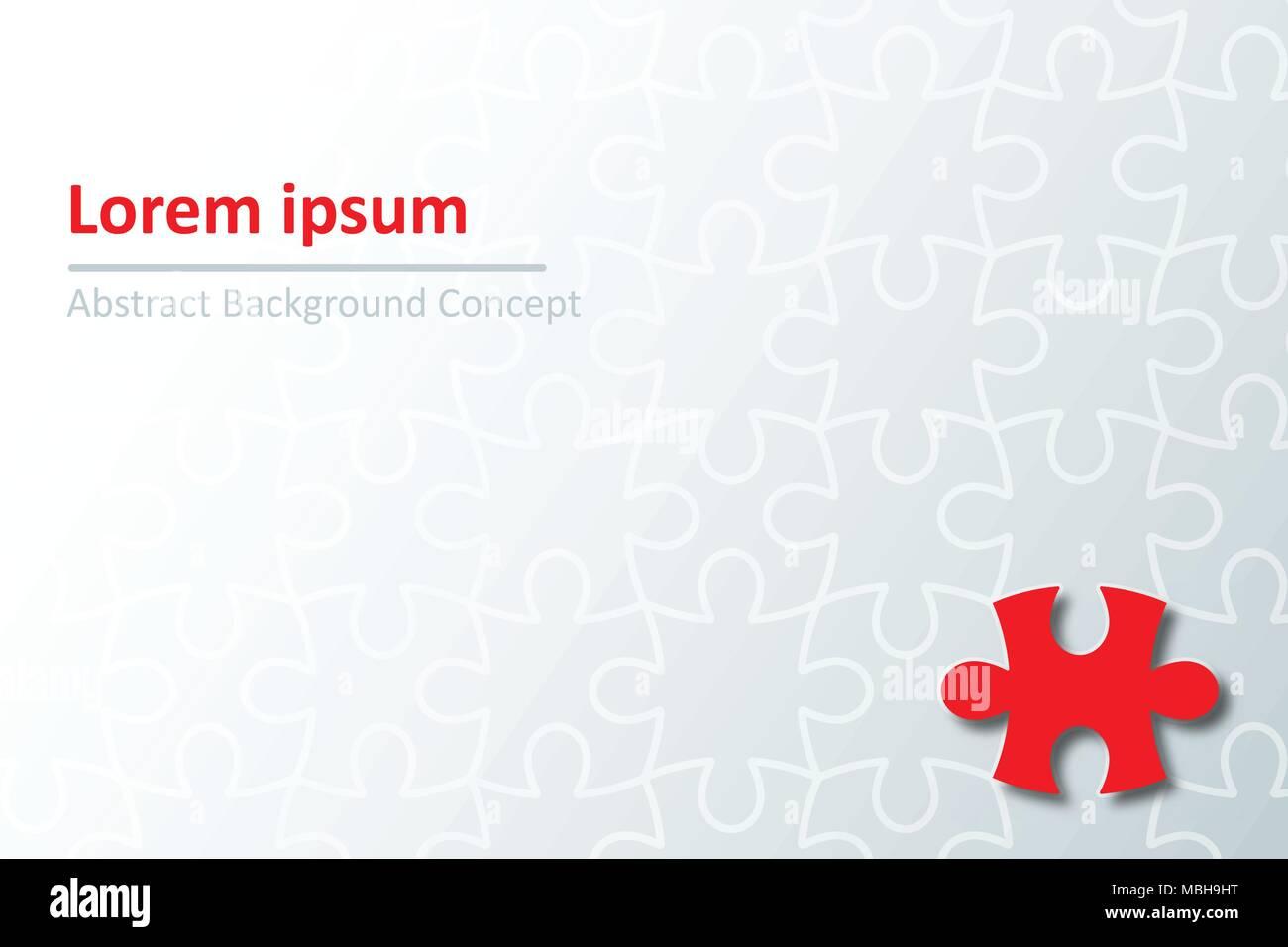 Pièce rouge papier coupé de puzzle puzzle contour de résumé pour l'idée d'arrière-plan graphique concept design Illustration de Vecteur