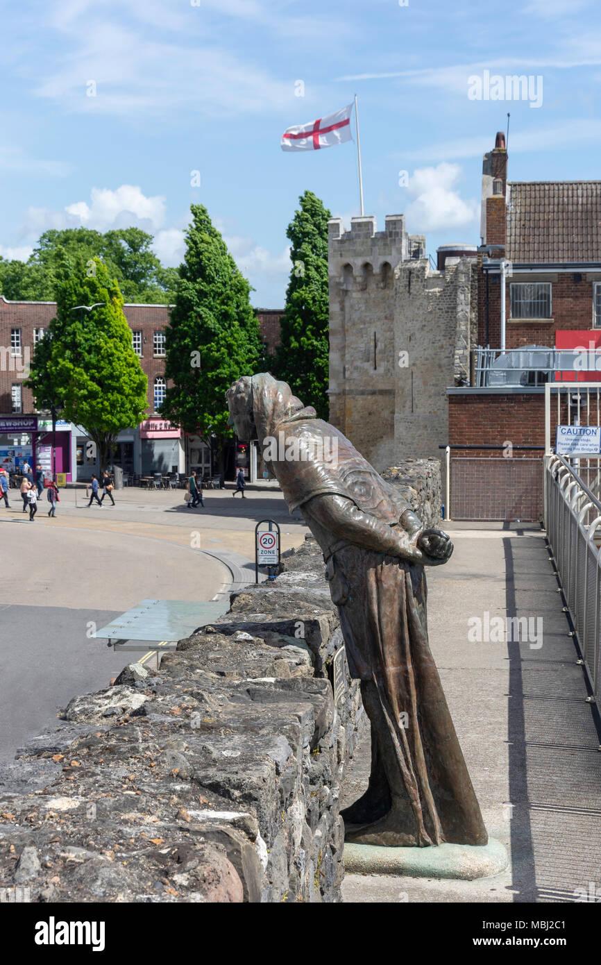 Le maire John Fleming sculpture sur de vieux murs, Vieille Ville, Southampton, Hampshire, Angleterre, Royaume-Uni Photo Stock