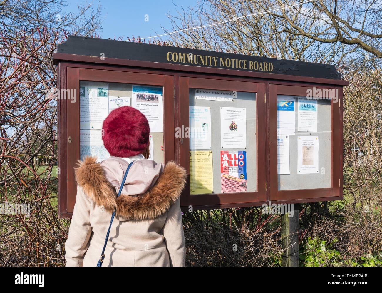 Femme lisant un tableau d'affichage communautaire à Ferring, West Sussex, Angleterre, Royaume-Uni. Dame à la Communauté à un affichage dans une ville britannique. Photo Stock