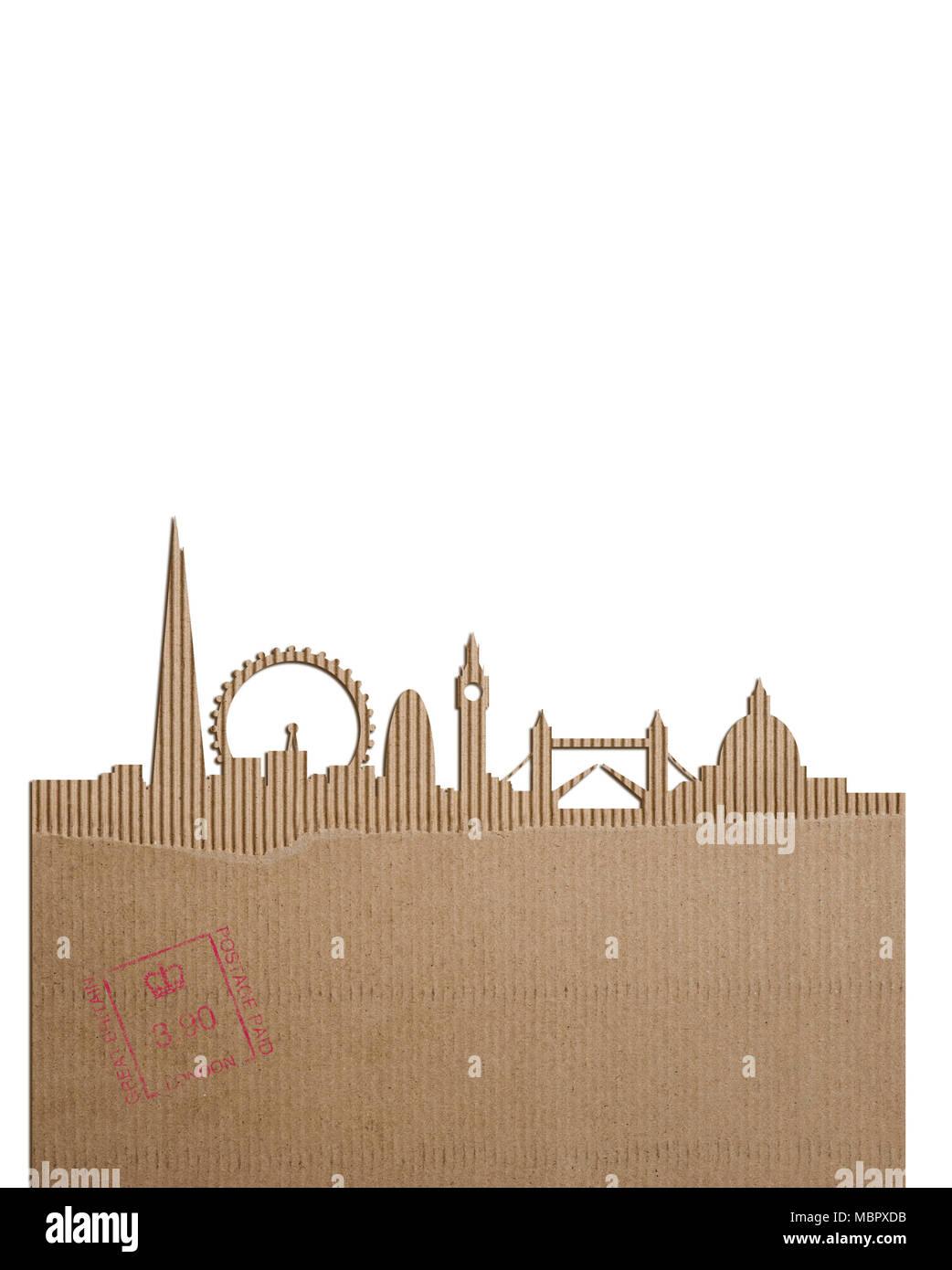 Une découpe en carton de la ville de Londres Banque D'Images