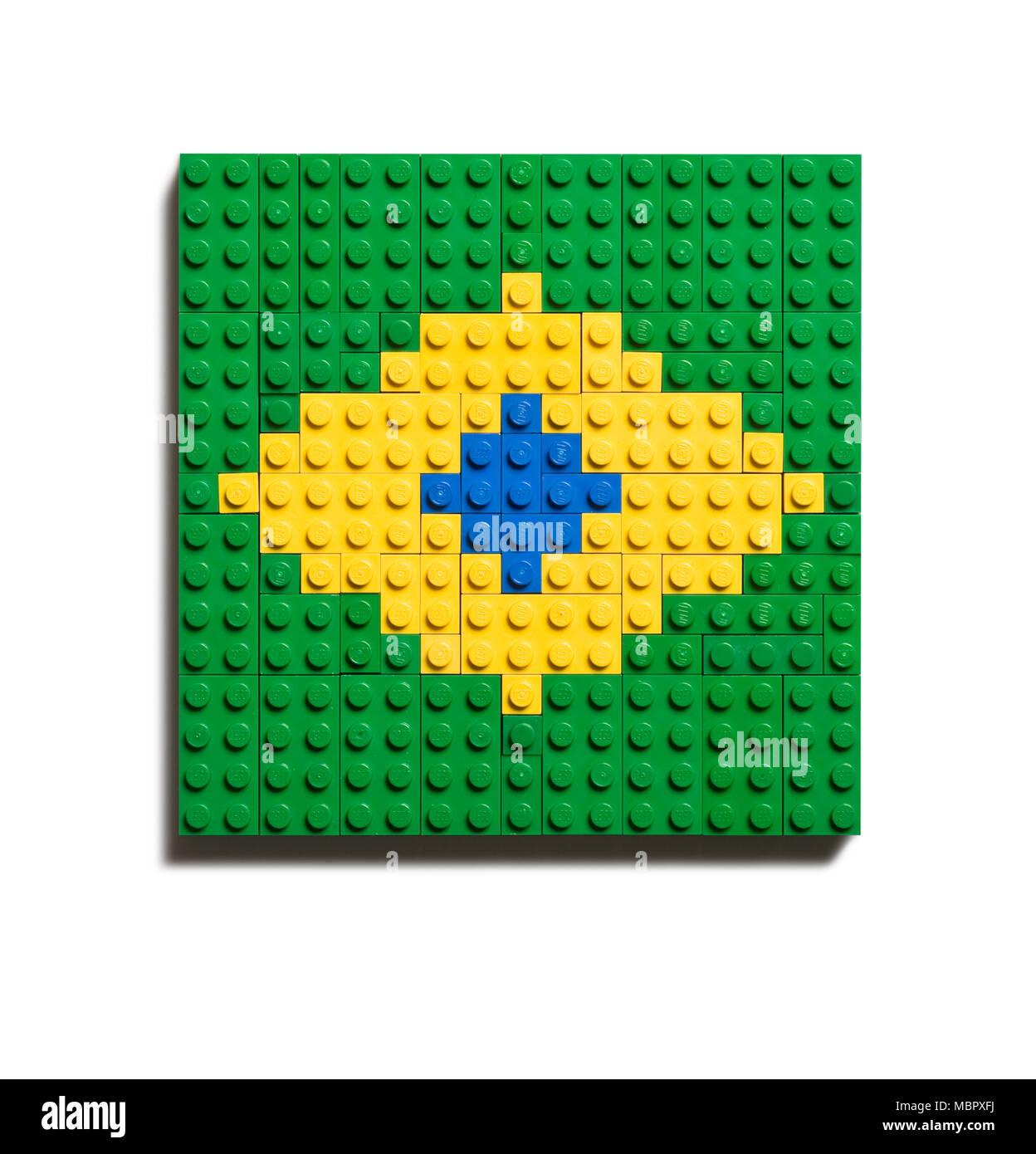 Le drapeau brésilien fait de Lego Banque D'Images