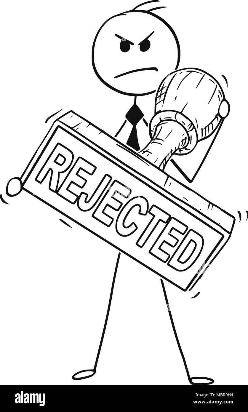 Caricature de Businessman Holding Big part rejeté en caoutchouc Stamp Photo Stock